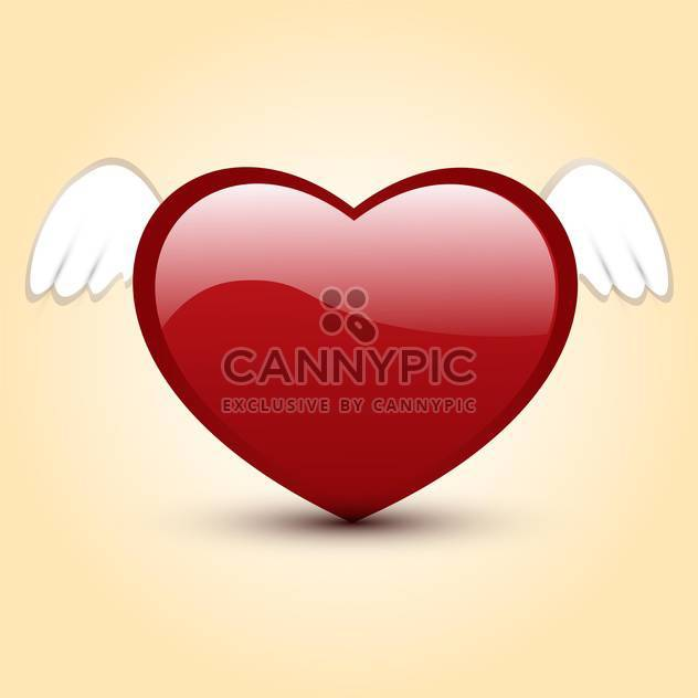 Vector illustration of shiny red heart with white wings - Free vector #125768