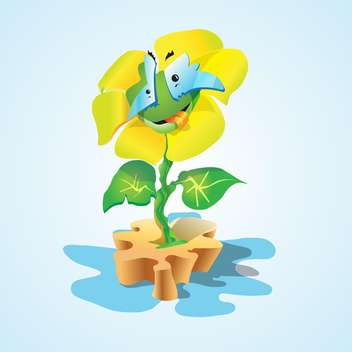 Vector illustration of funny colorful cartoon flower on blue background - Free vector #125778