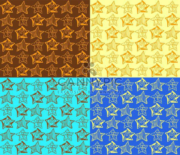 Vector illustration of colorful background with different types of stars - Free vector #125788