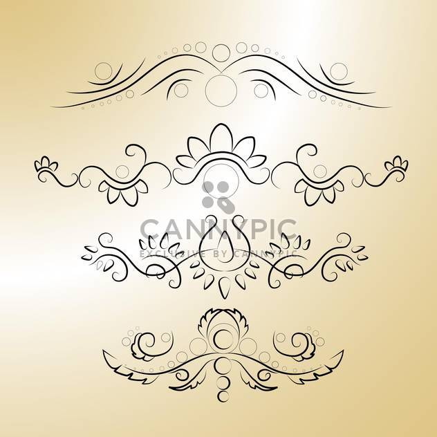 Vector black floral calligraphic elements on brown background - Free vector #125858