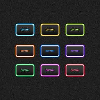 Vector illustration of web colored buttons on black background - Free vector #125918