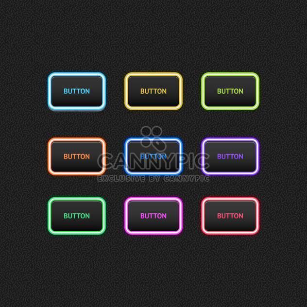 Vektor-Illustration Web farbigen Tasten auf schwarzem Hintergrund - Kostenloses vector #125918