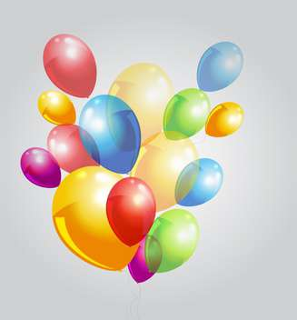 Vector illustration of grey background with colorful balloons - vector gratuit #125958
