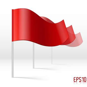 Vector illustration of red flags on white background - бесплатный vector #125968
