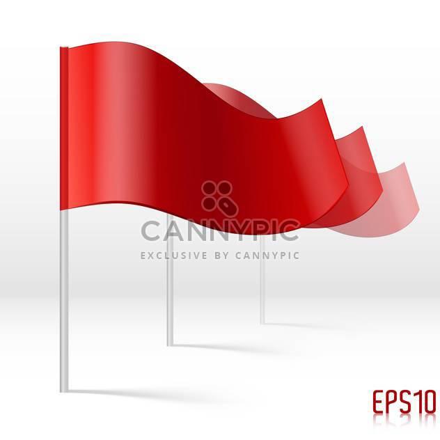 Vektor-Illustration von roten Fahnen auf weißem Hintergrund - Kostenloses vector #125968