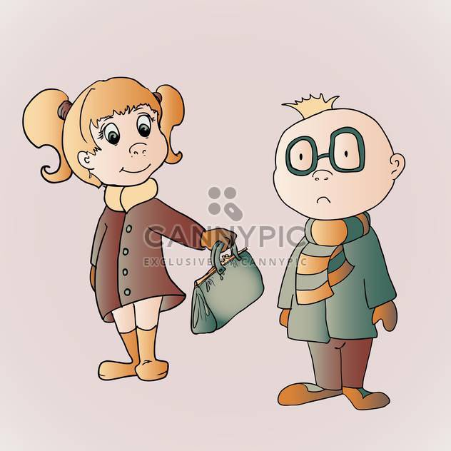 Vector illustration of cute boy and girl with bag in hand on pink background - Free vector #126018