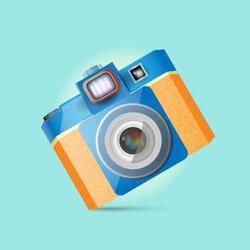 Vector illustration of retro photo camera on blue background - vector gratuit(e) #126058