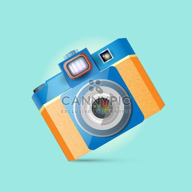 Vektor-Illustration von retro-Fotokamera auf blauem Hintergrund - Free vector #126058