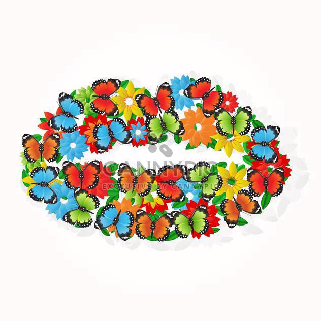 colorful illustration of butterflies and flowers in mouth shape on white background - Free vector #126068