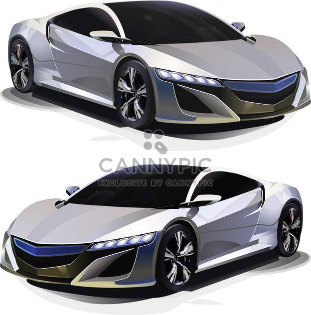 Vector illustration of modern sport car views on white background - Free vector #126128