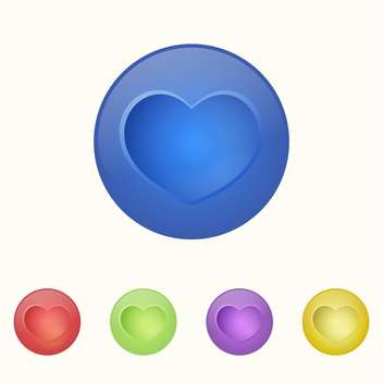 Vector illustration of colorful heart buttons on white background - Free vector #126158