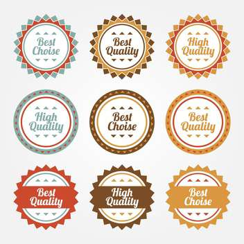 collection set of premium and high quality round labels on white background - vector gratuit(e) #126178