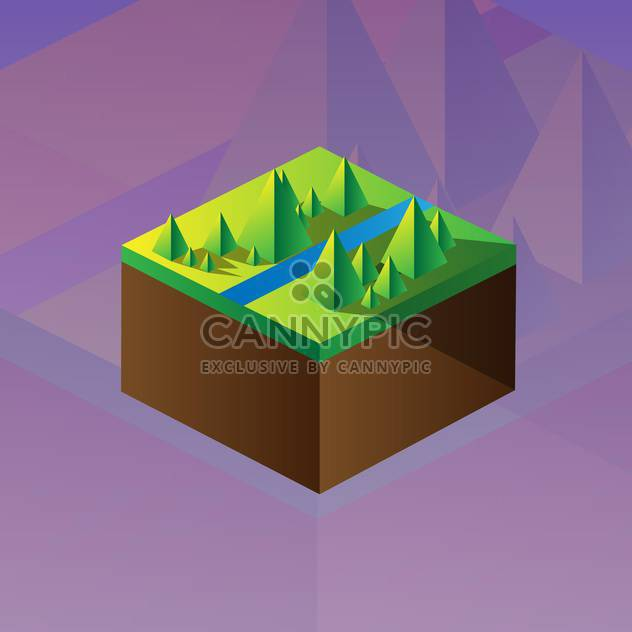 Vector illustration of square maquette of mountains on colorful background - Free vector #126188