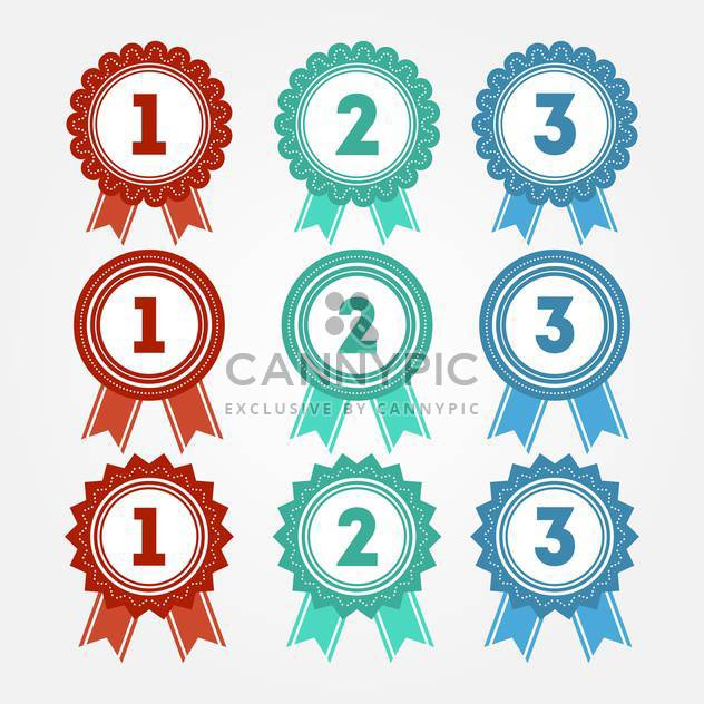 Vector illustration of ribbon rosette badges on white background - Free vector #126208