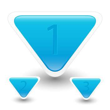 Vector illustration of blue triangle web buttons with numbers on white background - vector #126338 gratis