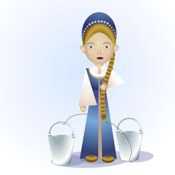 Vector illustration of russian cartoon girl with buckets - бесплатный vector #126398