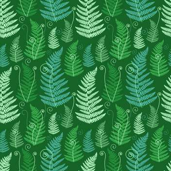 Green floral background with twirled grunge fern leafs - vector gratuit #126468