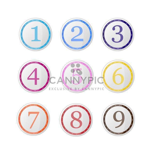 Vektor-Set Runde Icons mit bunten Ziffern auf weißem Hintergrund - Free vector #126518