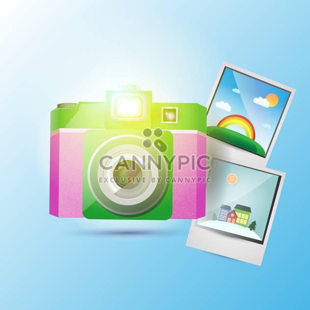Vektor-Illustration der Fotokamera mit bunten Bildern - Kostenloses vector #126528