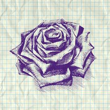 Sketch illustration of rose on notebook paper - vector #126618 gratis