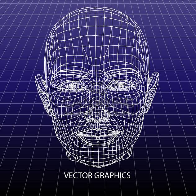 vector model of human face on blue background - Free vector #126658