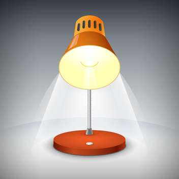 Vector illustration of brown table lamp on grey background - Free vector #126708