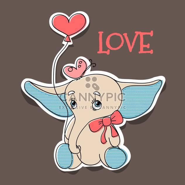 Vektor-Illustration des Elefanten verliebt mit Ballon für Valentinskarte - Kostenloses vector #126758