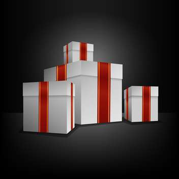 white gift boxes with red ribbons on black background - vector gratuit #126818