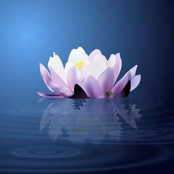 colorful illustration of beautiful water lily flowr on lake - vector gratuit(e) #126878