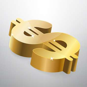 Golden dollar sign on grey background - vector gratuit #126918