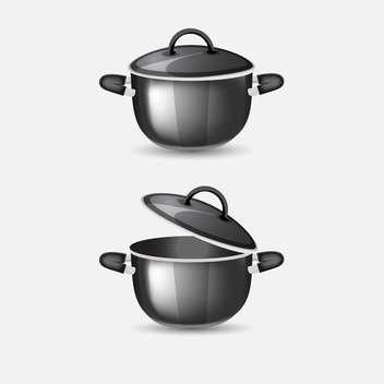 Vector illustration of black pans on grey background - vector gratuit #126928