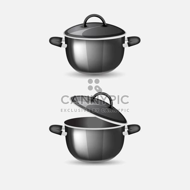 Vektor-Illustration von schwarzen Pfannen auf grauen Hintergrund - Kostenloses vector #126928