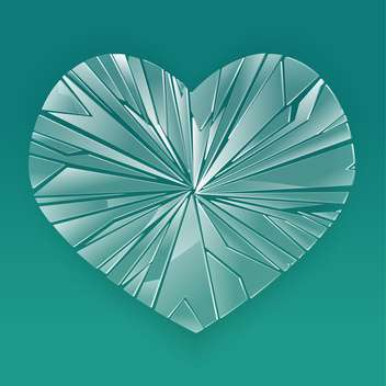 Broken glass heart on blue background - vector gratuit #126948