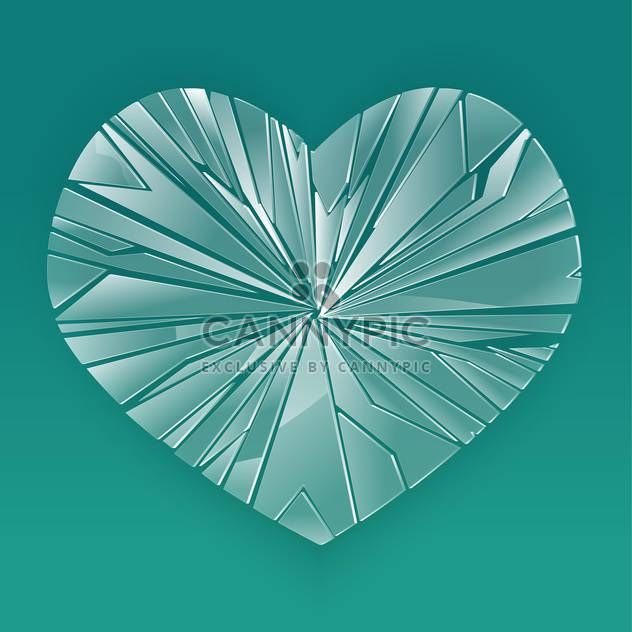 Broken glass heart on blue background - Free vector #126948