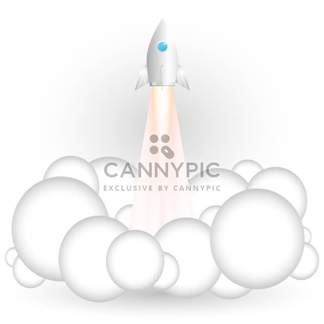 Vector illustration of flying rocket on white background - Free vector #126968