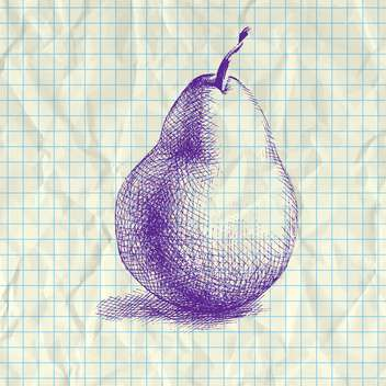 Sketch illustration of drawing pear on notebook paper - vector gratuit #126998