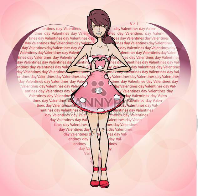 Vector illustration of cute girl in pink dress showing heart sign by hands - Free vector #127008