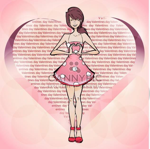 Vektor-Illustration der niedliche Mädchen in rosa Kleid Herzschild von Händen anzeigen - Kostenloses vector #127008