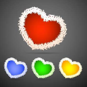 Vector set of fluffy hearts on grey background - Free vector #127038