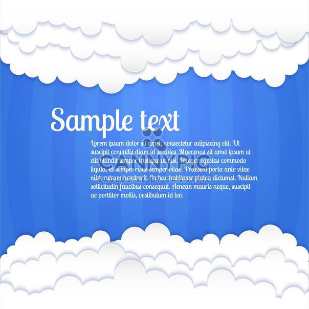 Vector blue background with white clouds and text place - Free vector #127108