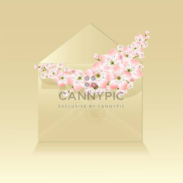 Spring beautiful flowers in envelope on beige background - Free vector #127118