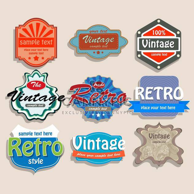 Vector set of colorful vintage labels on pink background - Free vector #127128