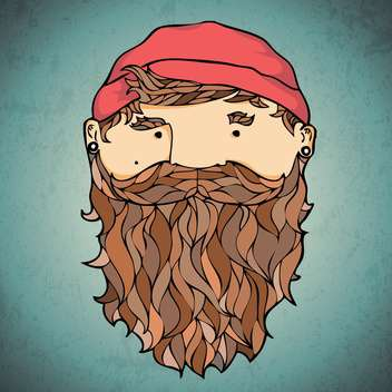 Vector illustration of bearded corsar on dark background - vector gratuit #127138
