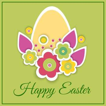 Happy Easter Card with egg and flowers on green background - vector gratuit #127188