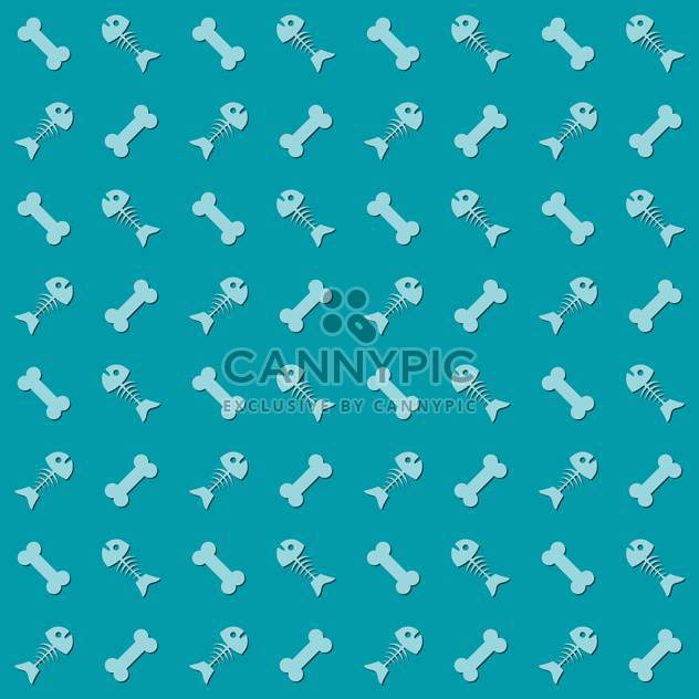 Seamless blue background with fish and bones - Free vector #127208
