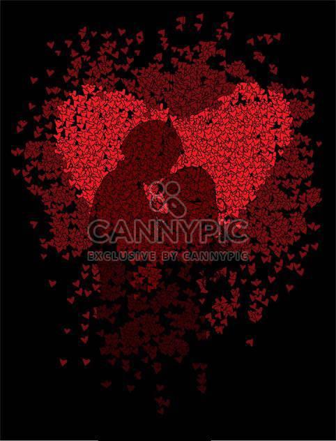 Rote Herzen mit paar Silhouette auf schwarzem Hintergrund - Kostenloses vector #127228