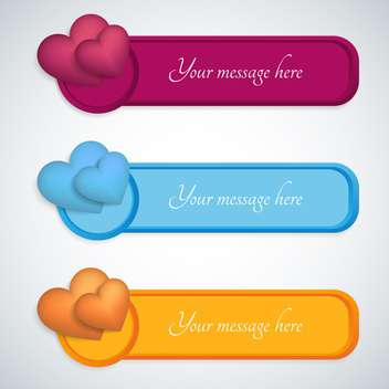 colorful badges with hearts with text place on white background - vector gratuit #127238