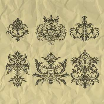Vector vintage elements on crumpled paper - Free vector #127268