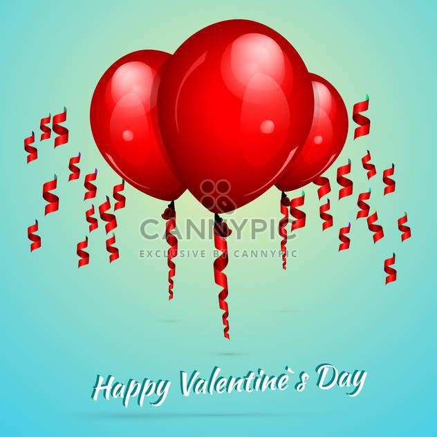 Valentine's background with red balloons for valentine card - Free vector #127288
