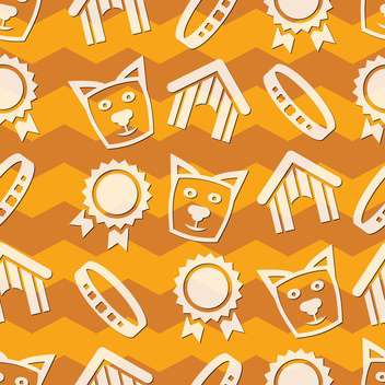 vector collection of pet care icons on orange background - Free vector #127298